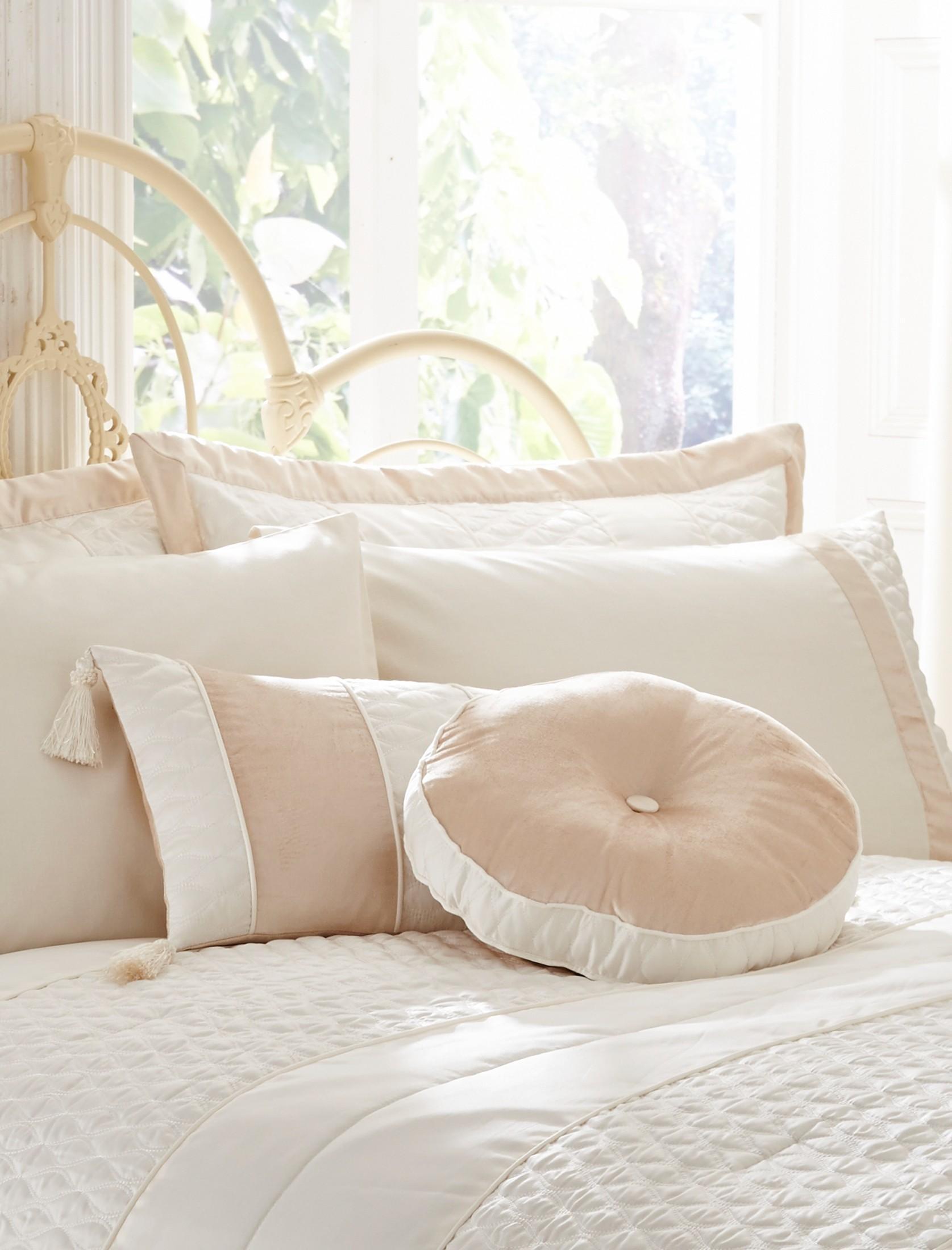 Aston Round Cushion Cream   Ponden Homes