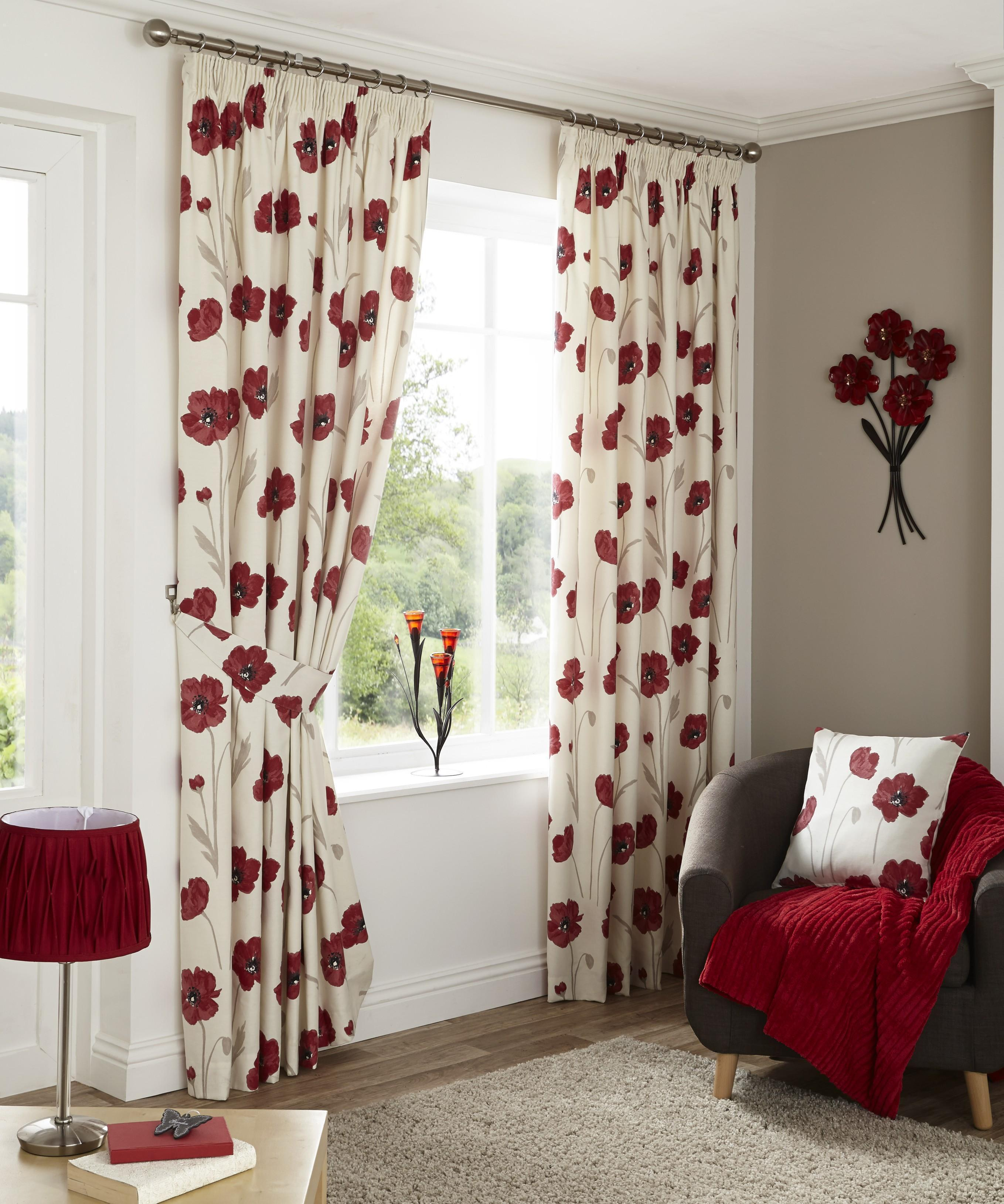 Country Poppy Pencil Pleat Curtains Red Ponden Home