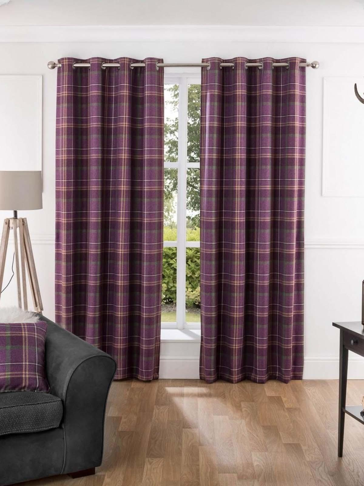 Orkney Brushed Check Eyelet Curtains Plum Ponden Home