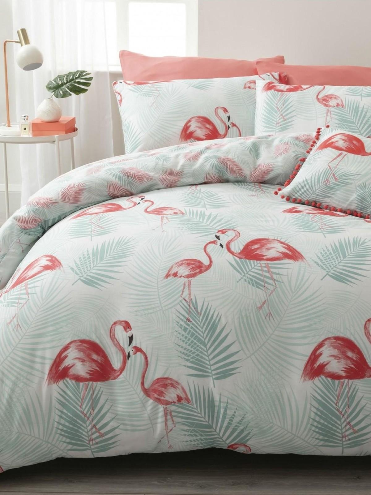 Tropical Flamingo Duvet Set Multi Ponden Home
