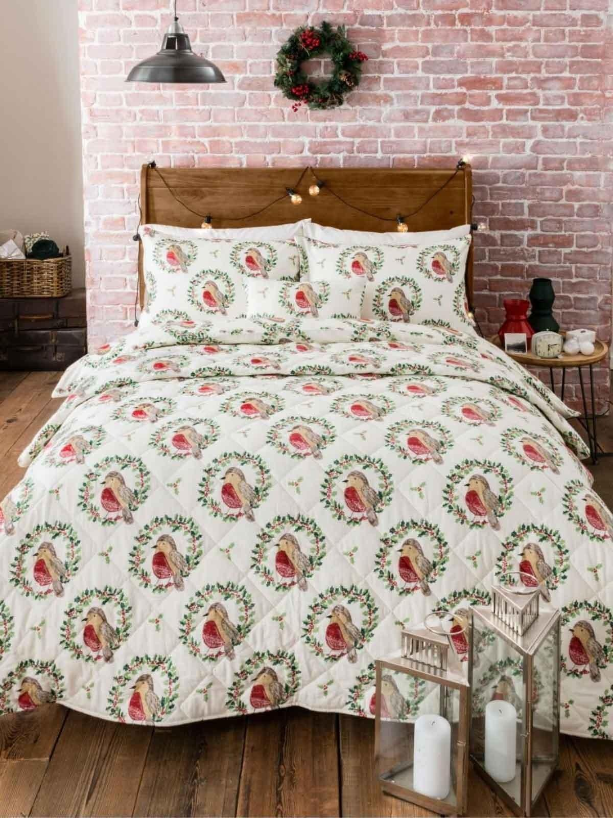 Robin Wreath Flannelette Bedding Collection Red Ponden Home