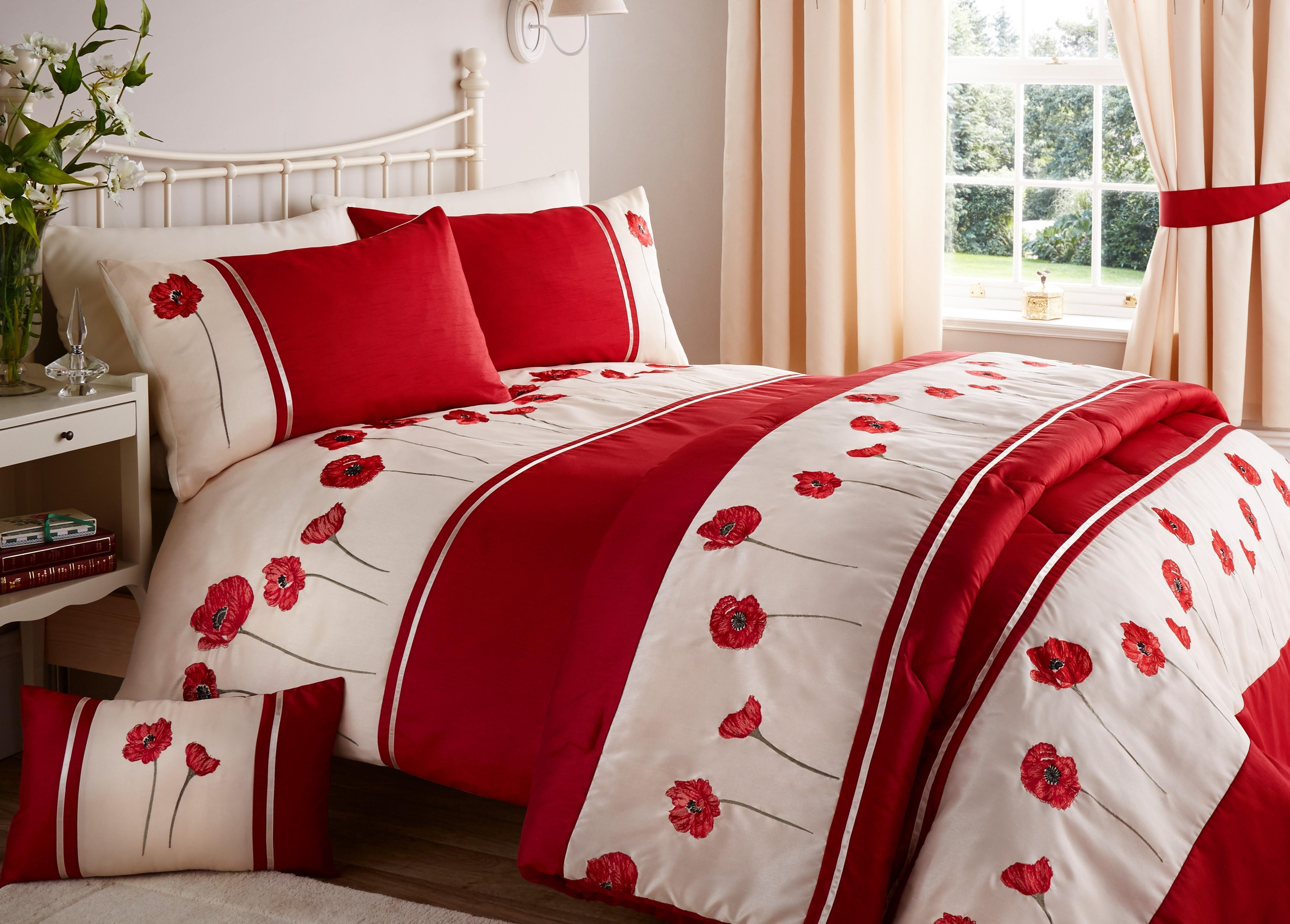 Embroidered Poppy Bedding Collection Red Ponden Home