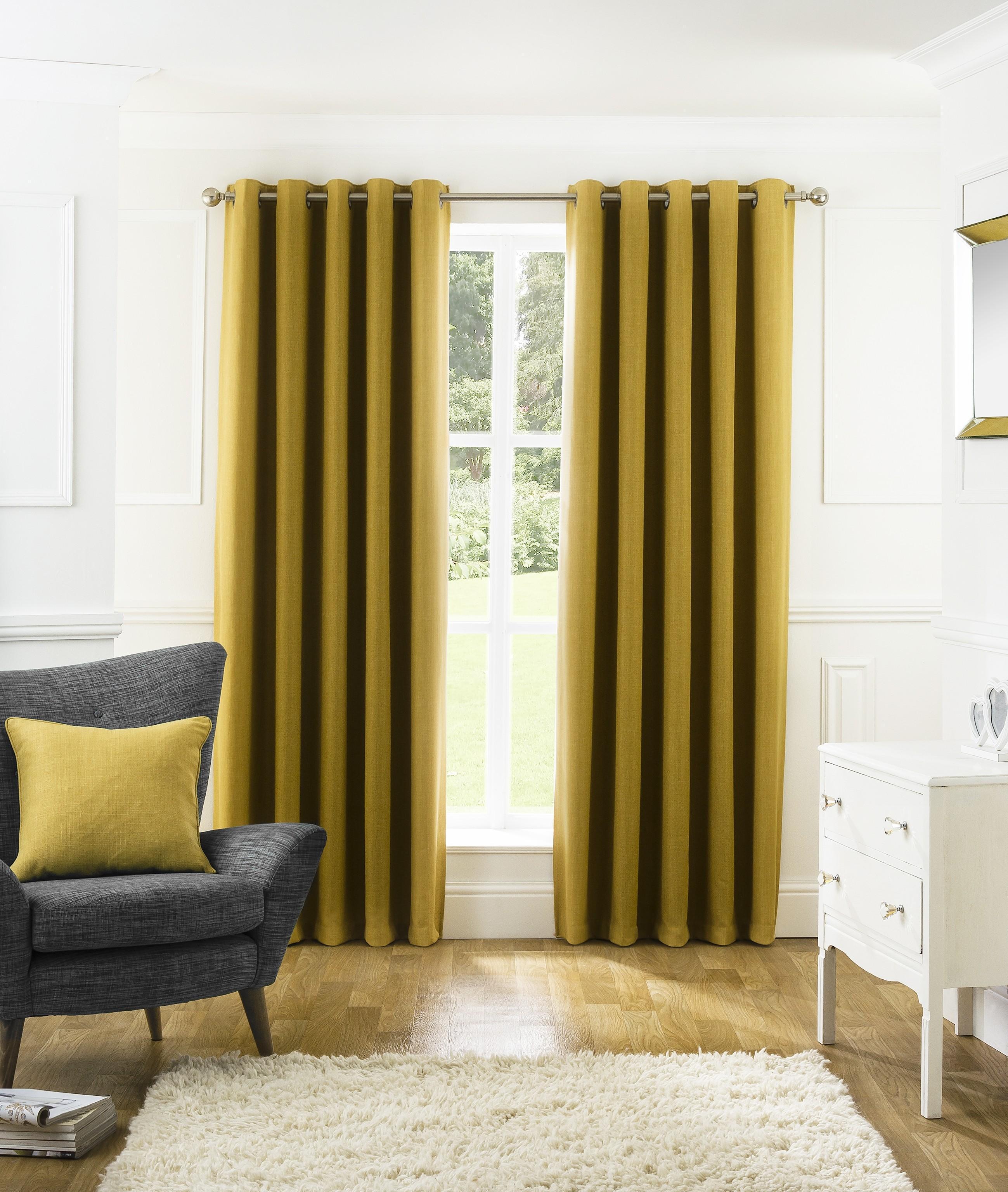 harlow thermal blackout eyelet curtains ochre ponden home. Black Bedroom Furniture Sets. Home Design Ideas