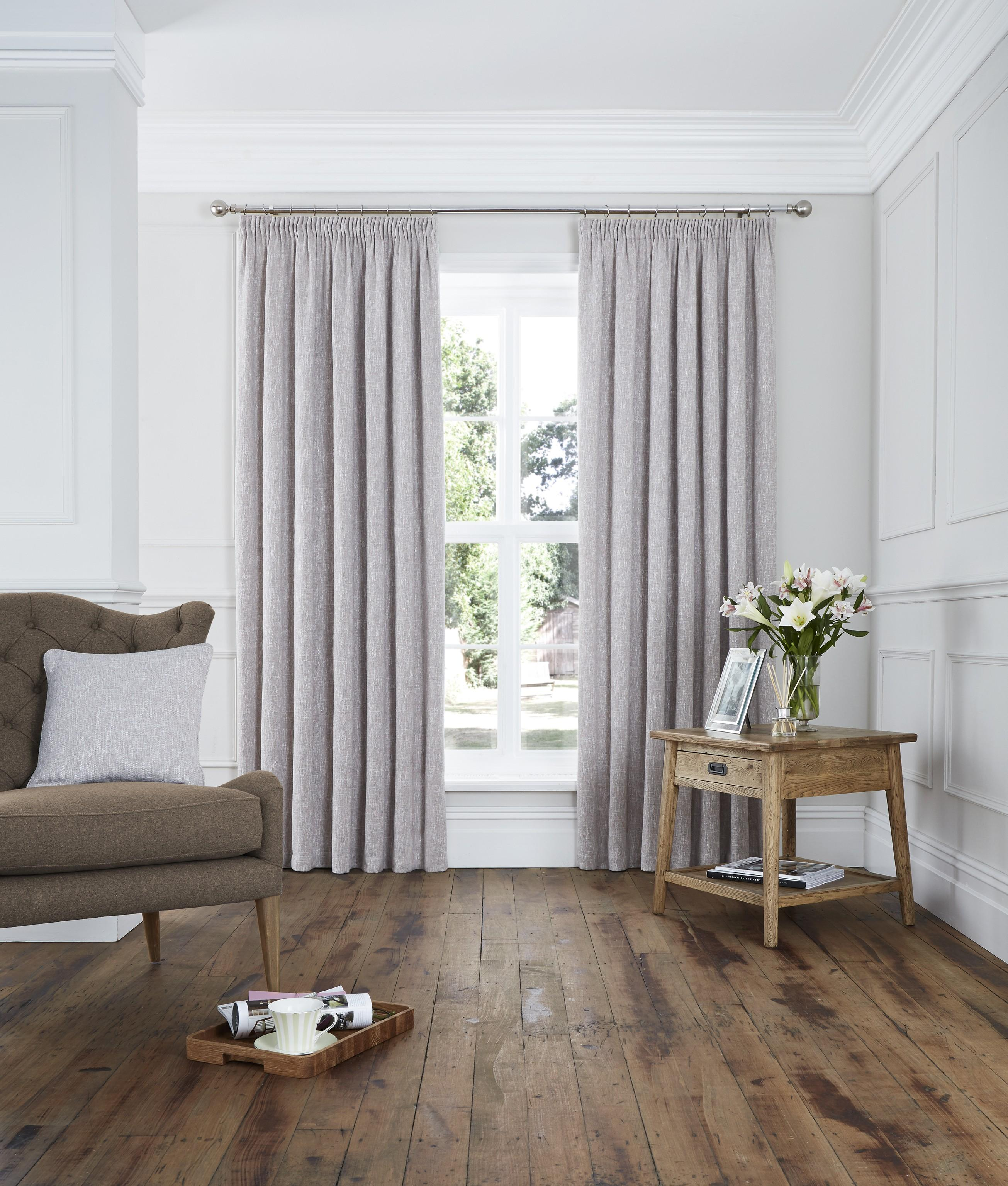 Lucerne Pencil Pleat Curtains Natural