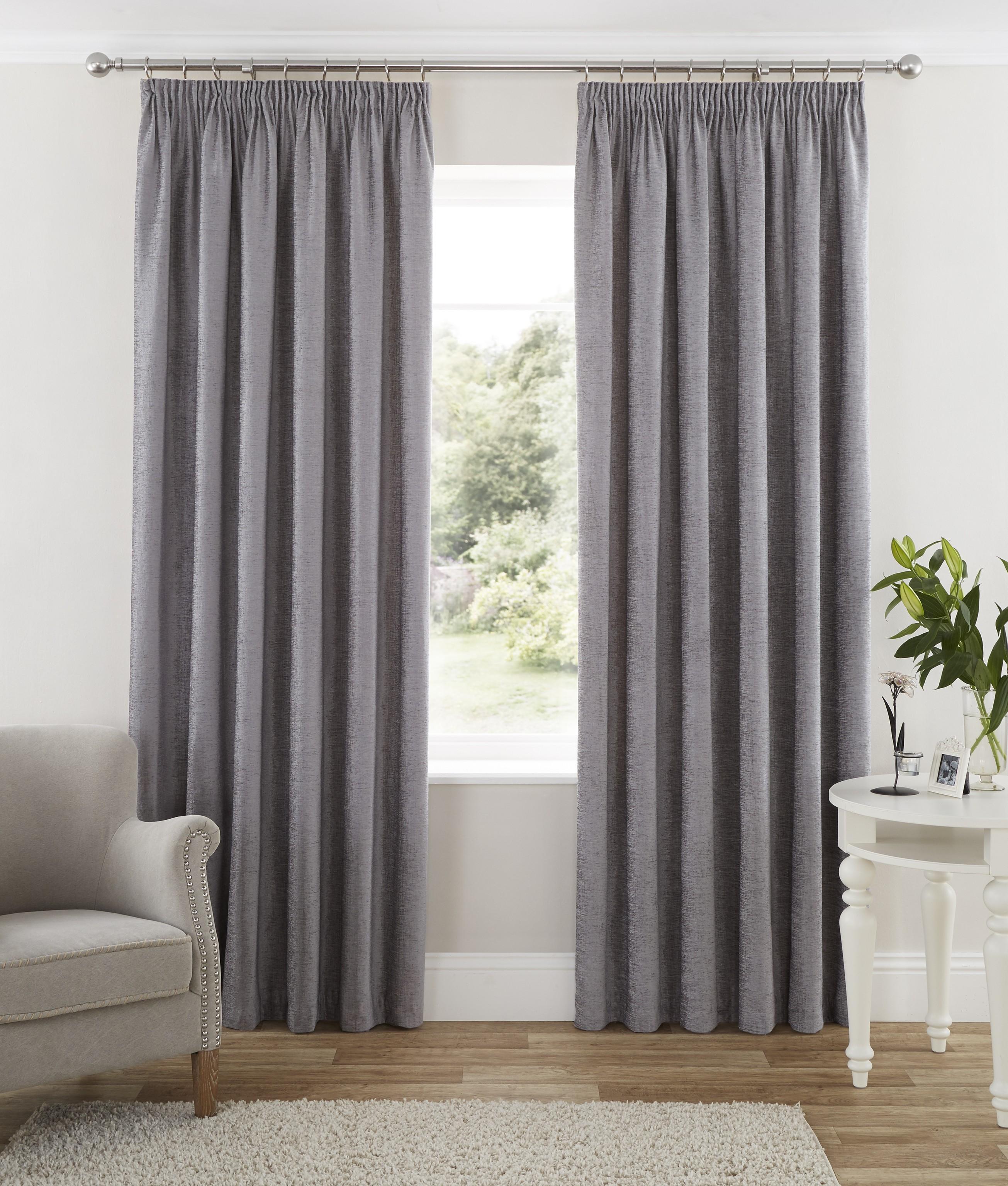 Luxury Grey Curtains Sicily Faux Silk