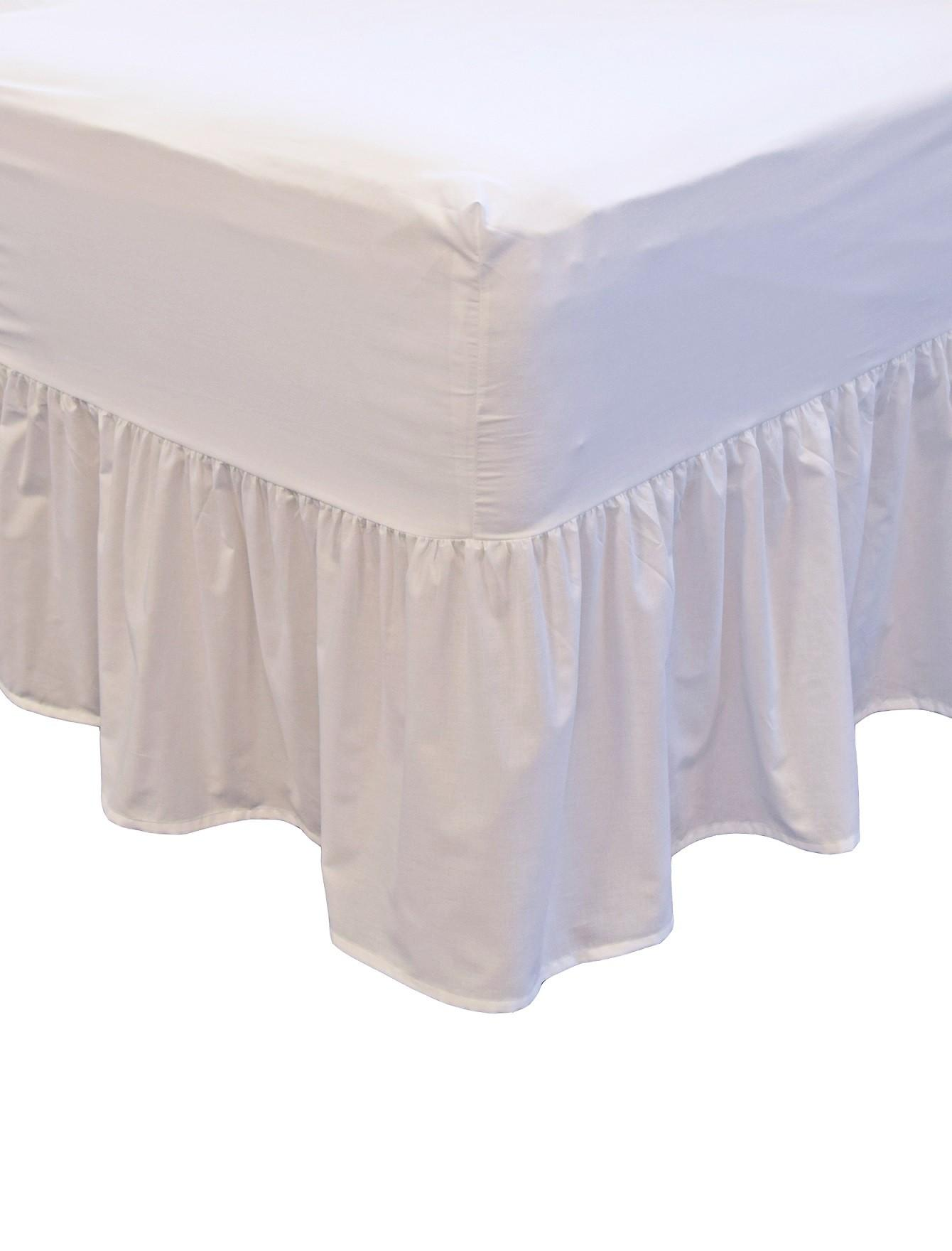 Non Iron Fitted Frilled Valance Sheet White Ponden Home