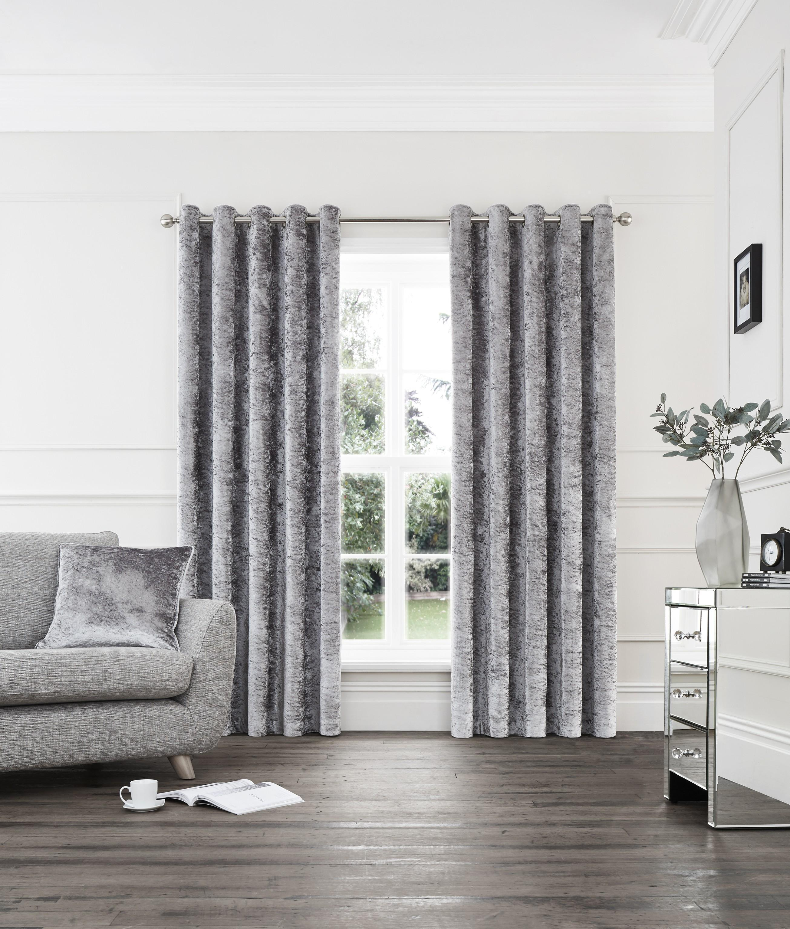 Opulence Crushed Velvet Effect Eyelet Curtains Silver