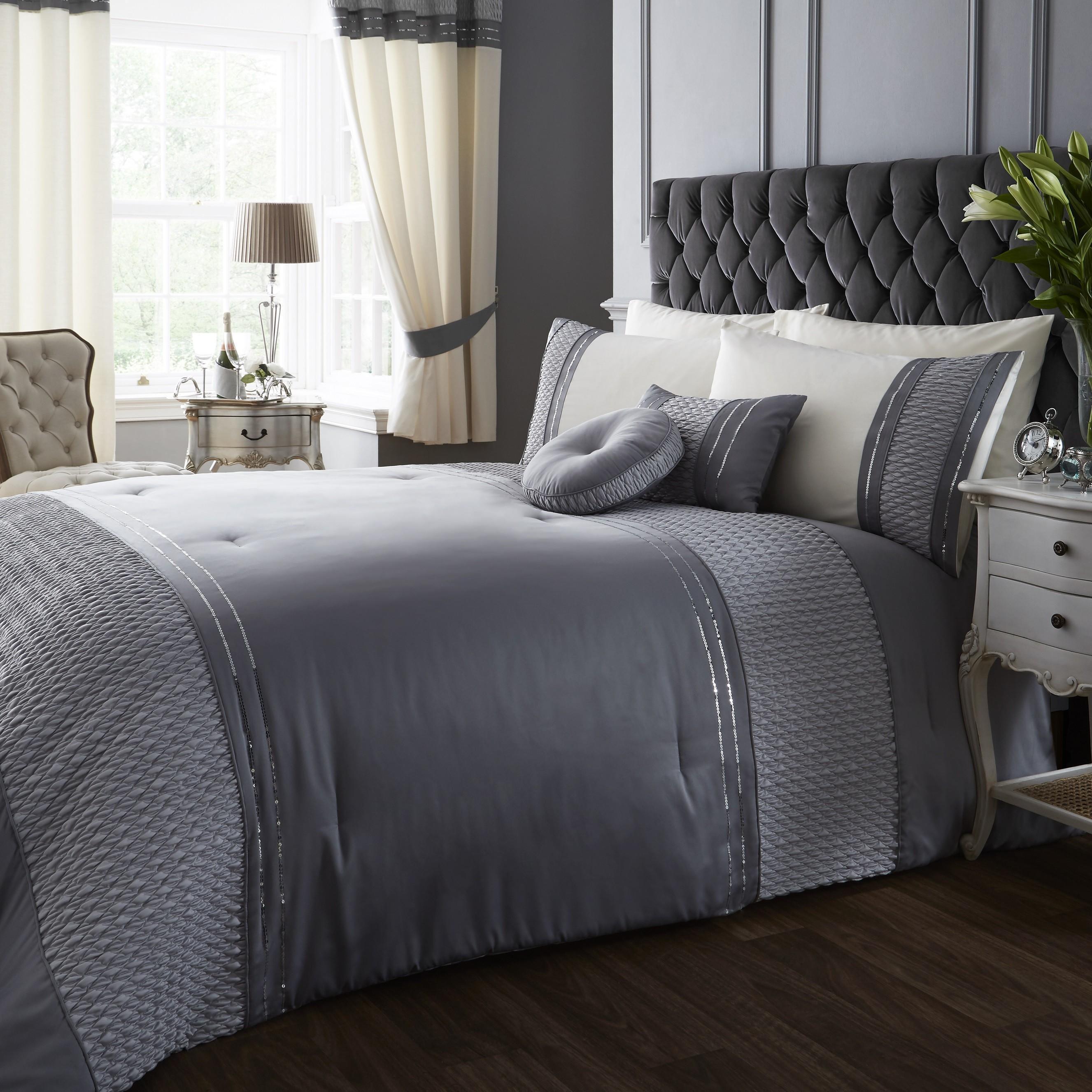 Serena Sequin Trim Bedspread Silver   Ponden Homes