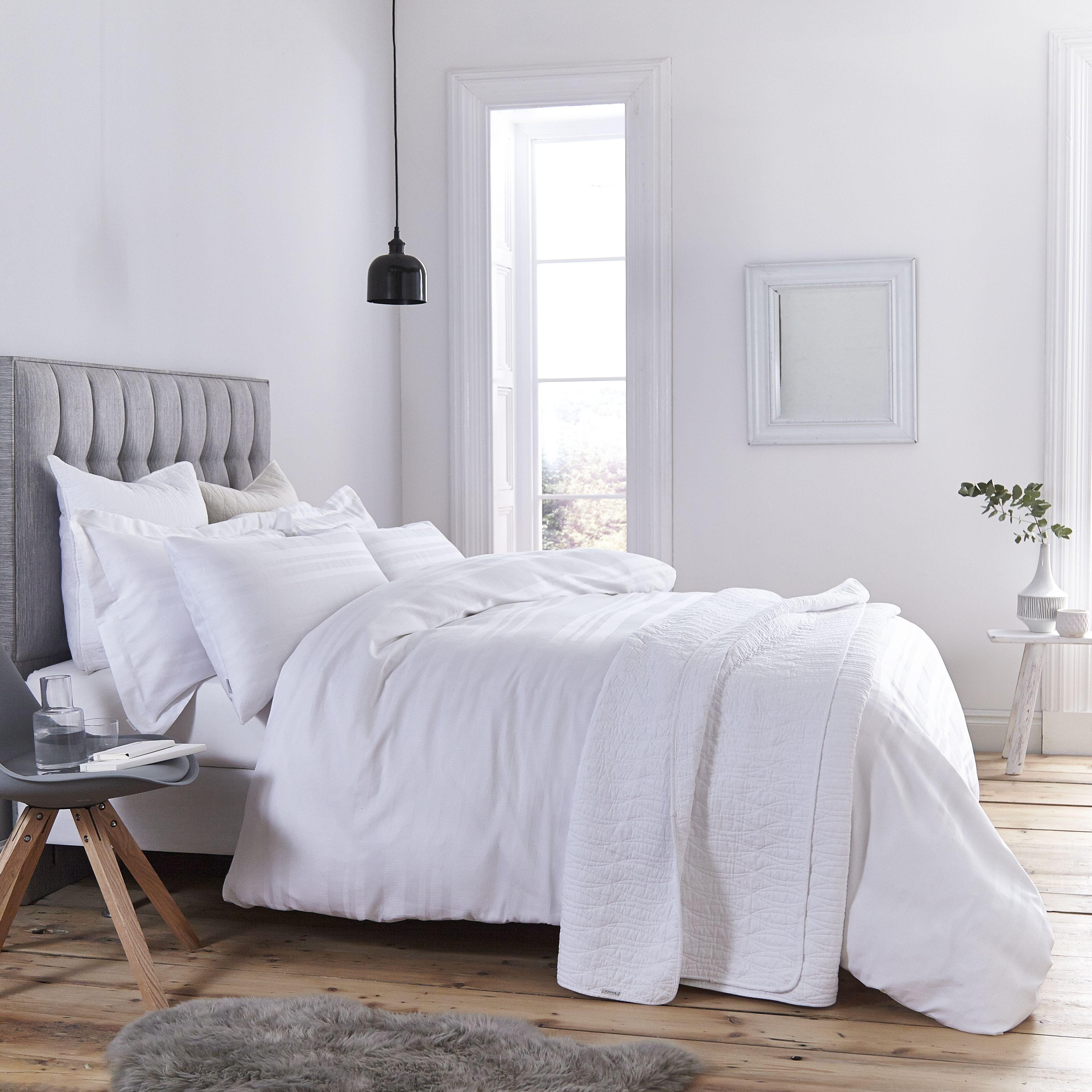 Bianca Waffle Cotton Stripe Bedding Collection White
