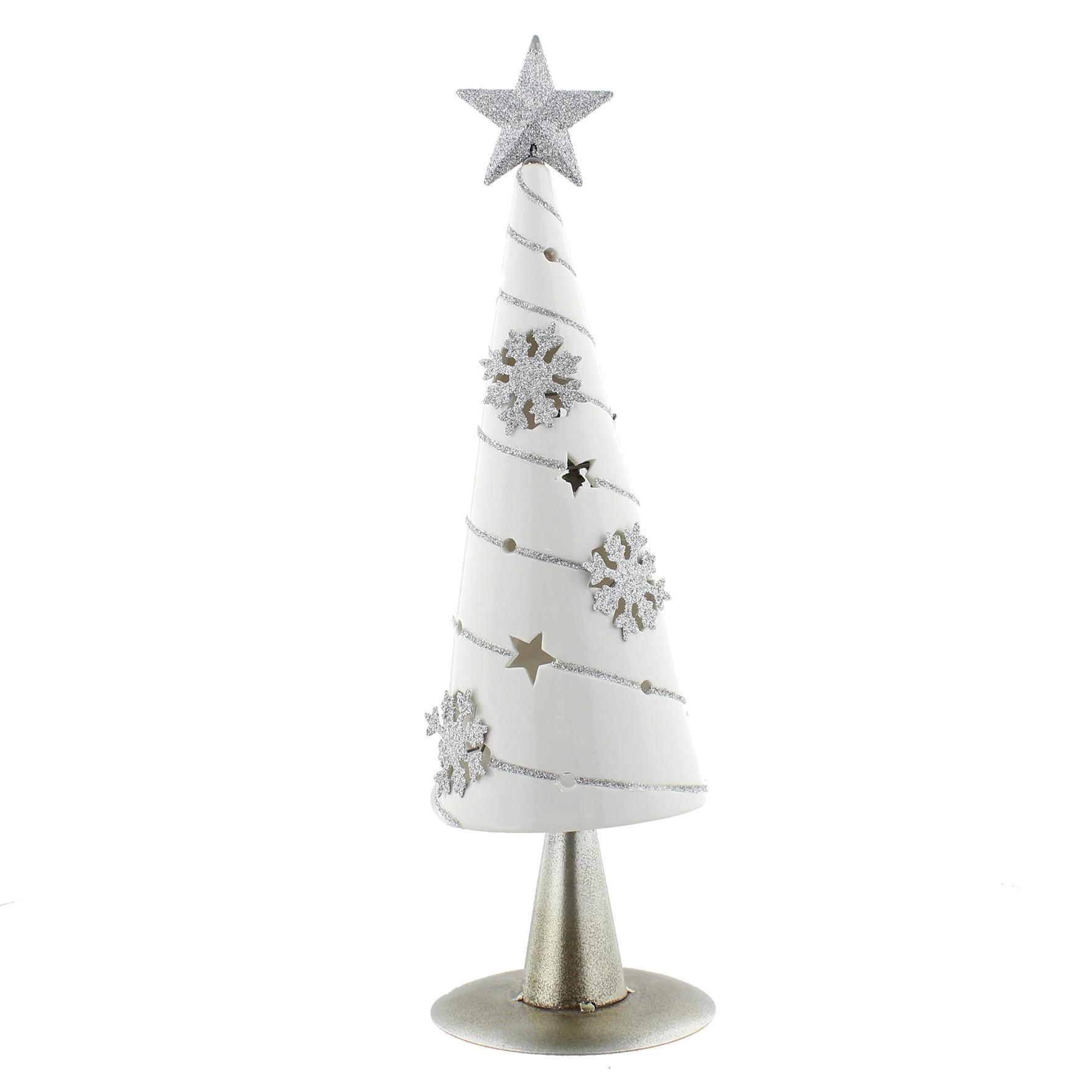 Ceramic Christmas Tree Metal Star T Lite Holder