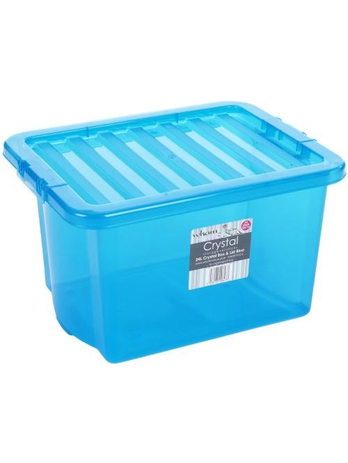 Wham® Crystal 24L Box & Lid x5 Blue