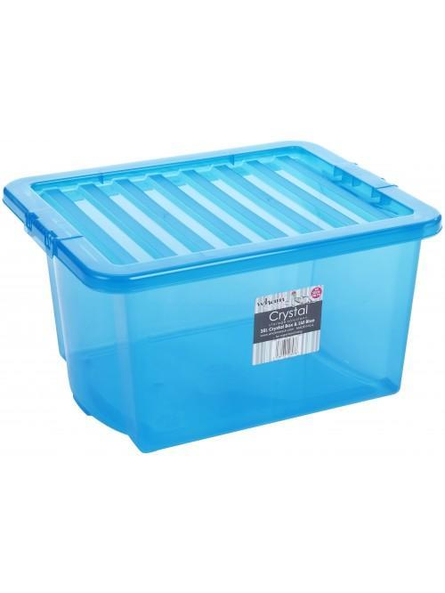 Wham® Crystal 35L Box & Lid x3 Blue