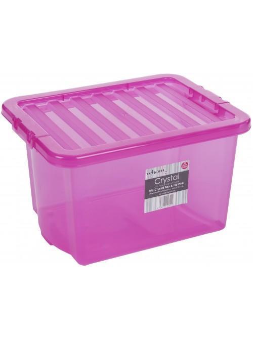 Wham® Crystal 24L Box & Lid x5 Pink