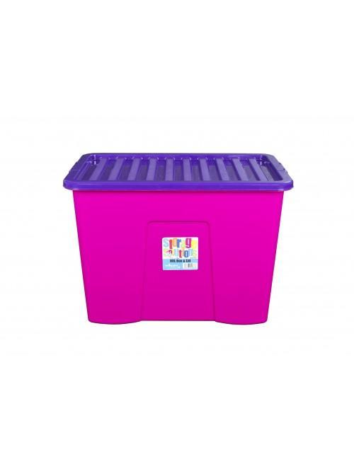 Wham® 80L Box & Lid x3 Purple