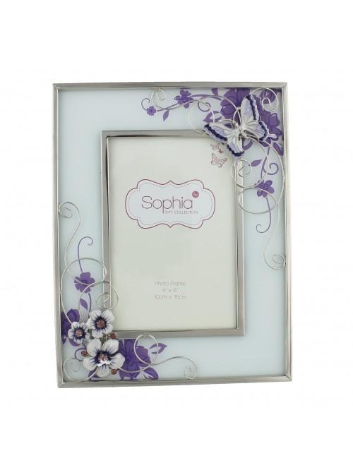 Glass Photo Frame Purple Butterfly 4 x 6