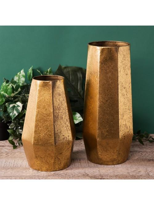 Home Living Set of 2 Gold Metal Vases