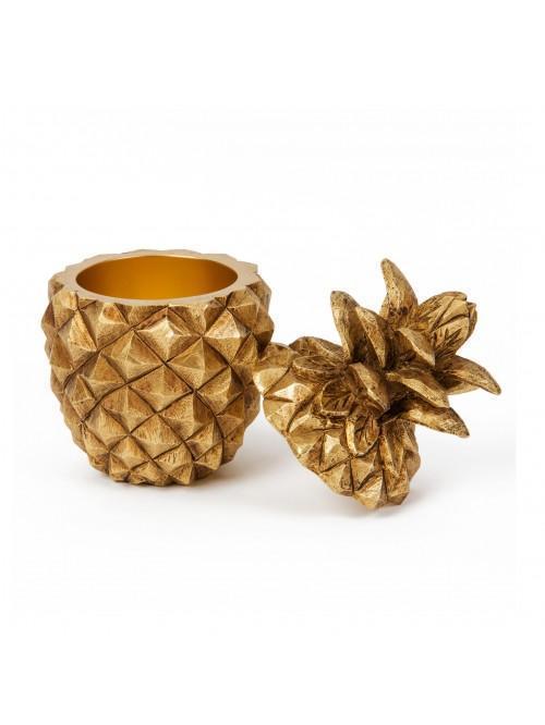 Home Living Resin Golden Pineapple Dish Ornament