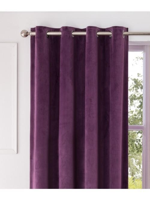 Allure Matt Velvet Eyelet Curtains Plum