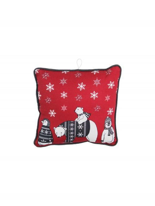 Arctic Animals Mini Cushion Red
