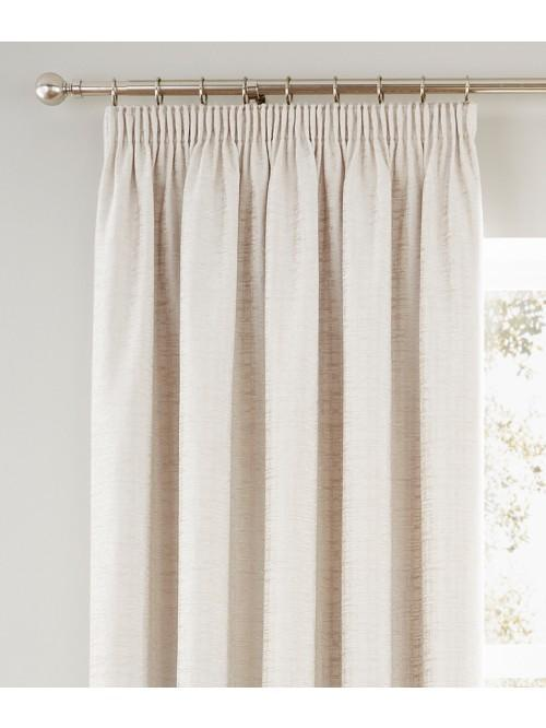Ascot Chenille Pencil Pleat Curtains Cream