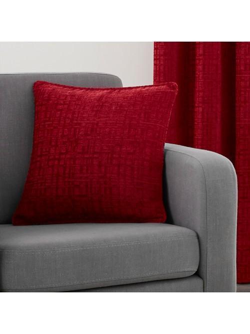 Ascot Chenille Cushion Red