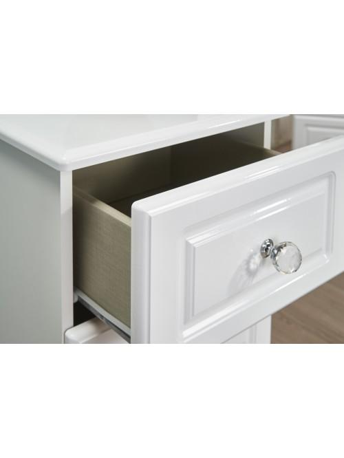 Apollo 3 Drawer Bedside Cabinet White Gloss