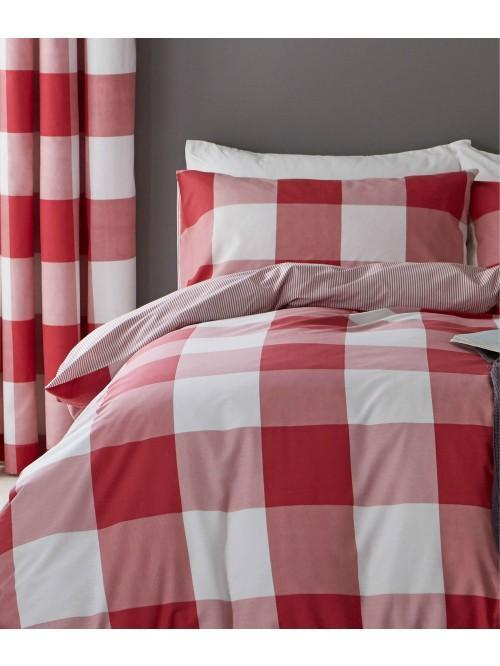 Catherine Lansfield Boston Check Bedding Collection Red