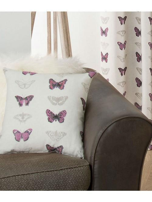 Butterfly Collage Cushion Plum