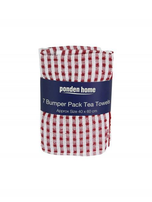 7 Bumper Pack Tea Towels Traditional Red