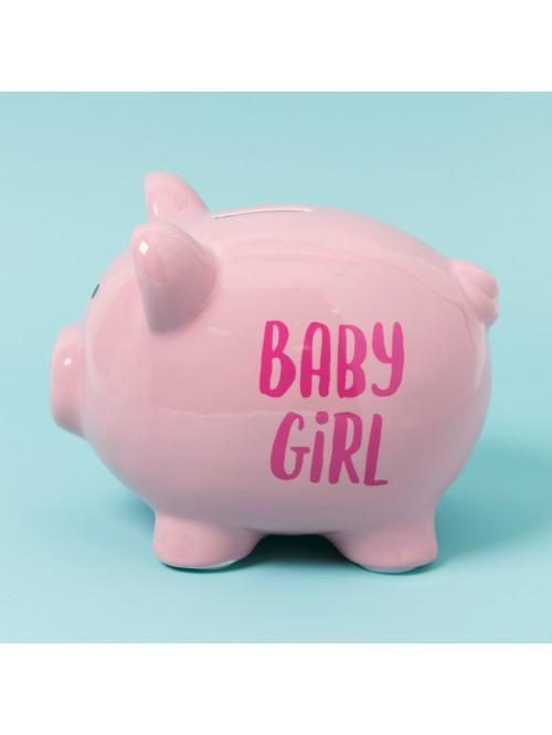 'Pennies & Dreams' Ceramic Pig Money Bank - Baby Girl