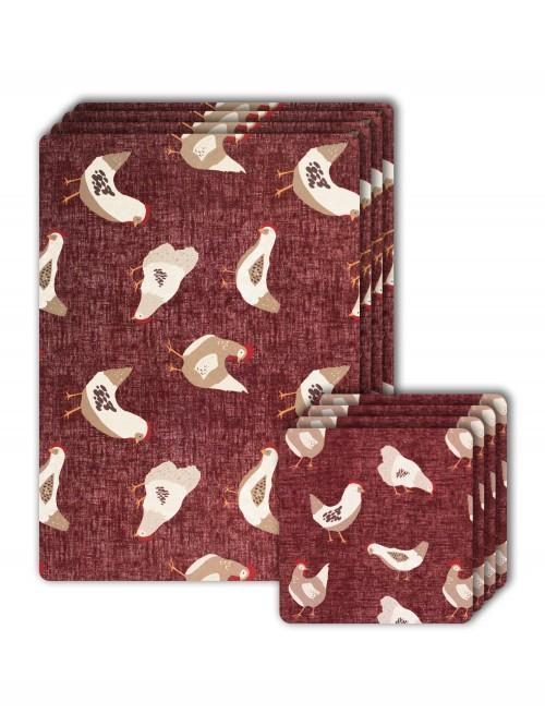 Farmhouse Chicken Cork Placemat And Coaster Set Red