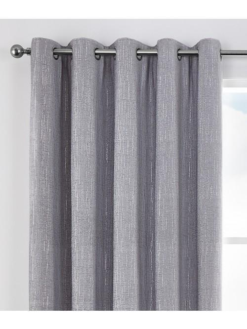 Corsica Glitter Effect Chenille Eyelet Curtains Silver