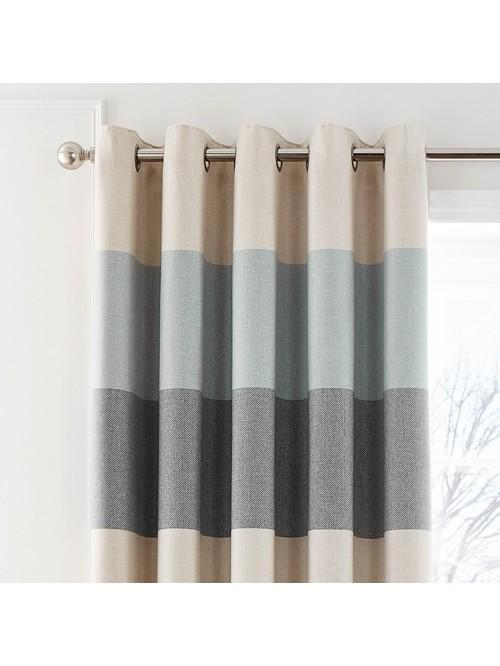 Cosy Twill Stripe Eyelet Curtains Duck Egg