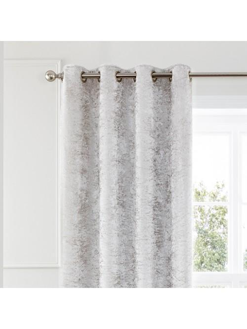 Opulence Crushed Velvet Effect Eyelet Curtains Ivory