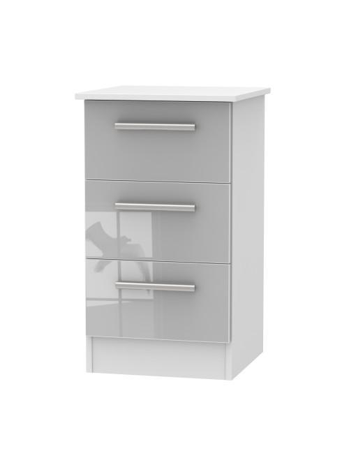 Alessa 3 Drawer Bedside Cabinet Grey Gloss
