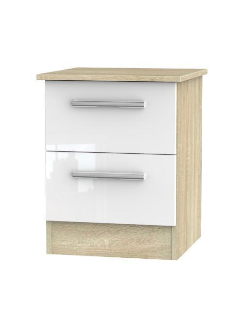Atlanta 2 Drawer Bedside Cabinet White Gloss