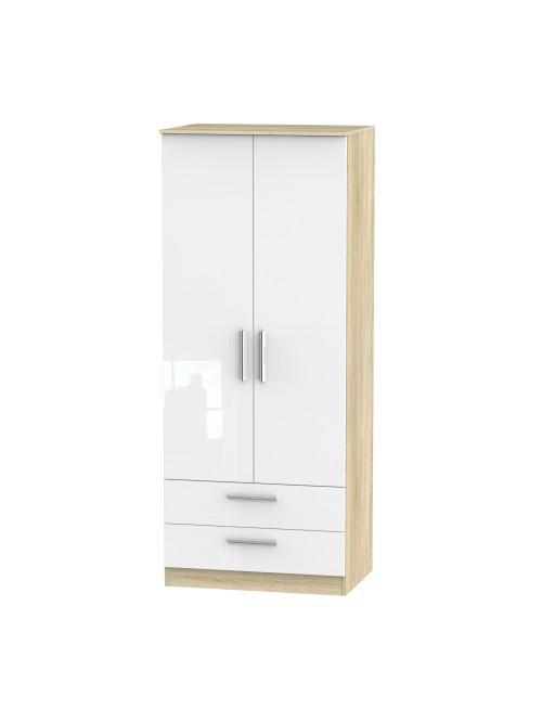 Atlanta 2 Drawer Wardrobe White Gloss