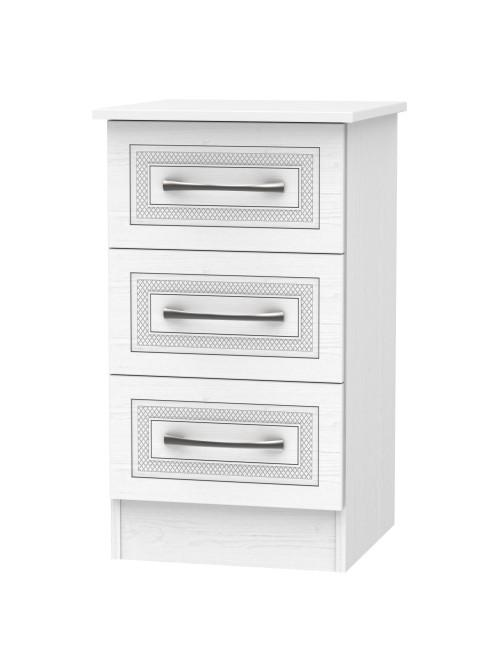 Cambridge 3 Drawer Bedside Cabinet White Ash