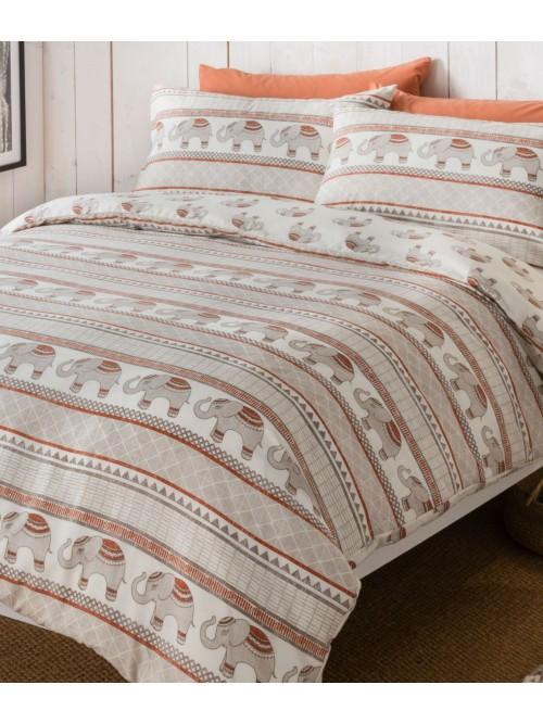 Elephant Stripe Printed Duvet Set Orange