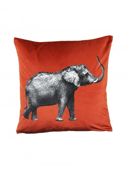 Illustrative Elephant Cushion Orange