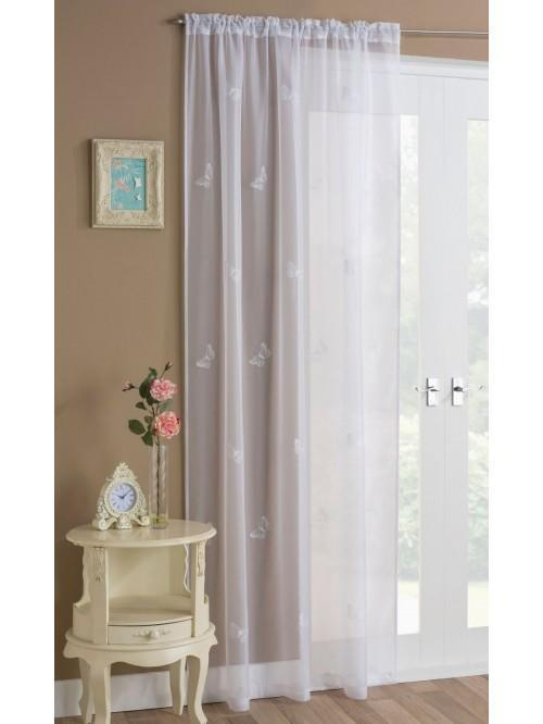 Embroidered Butterflies Voile Panel White