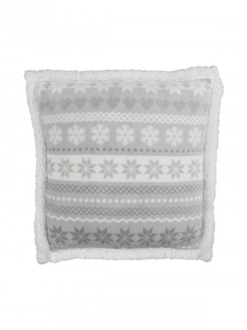 Fairisle Sherpa Cushion Grey