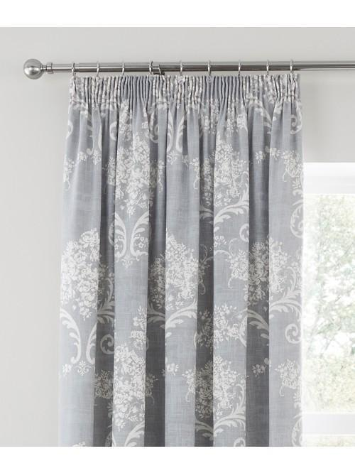 Floral Toile Pencil Pleat Curtains Grey