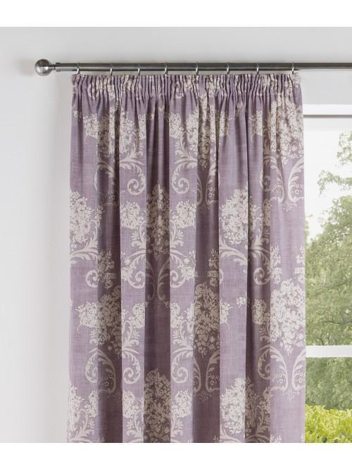 Floral Toile Pencil Pleat Curtains Heather