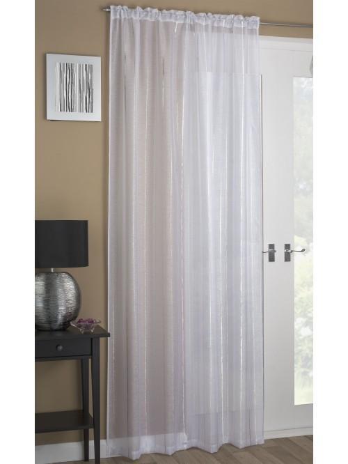 Foil Stripe Voile Panel White