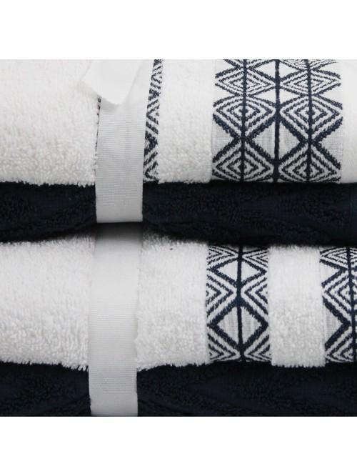 Geometric Jacquard Towels Navy