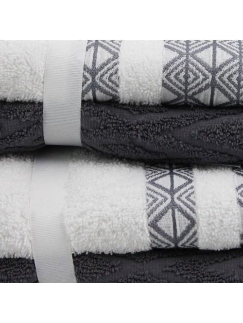 Geometric Jacquard Towels Grey