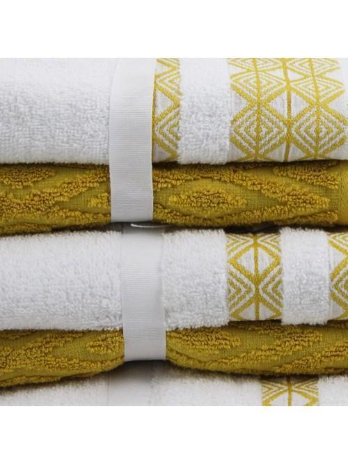 Geometric Jacquard Towels Ochre
