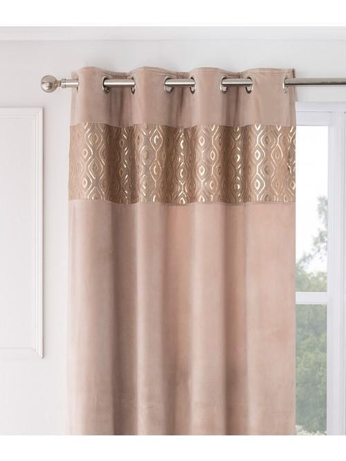 Hotel Glimmer Sequin Thermal Eyelet Curtains Gold