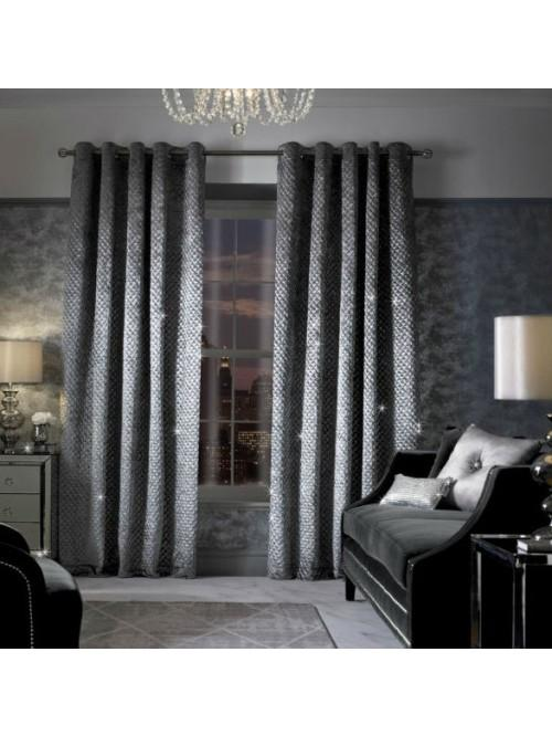 Kylie Minogue Grazia Lined Eyelet Curtains Silver